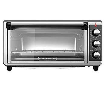 BLACK+DECKER TO3250XSB 8-Slice Extra Wide Convection Countertop Toaster Oven Includes Bake Pan Broil Rack & Toasting Rack Stainless Steel/Black