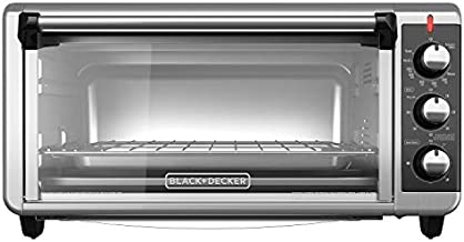 BLACK+DECKER TO3250XSB 8-Slice Extra Wide Convection Countertop Toaster Oven, Includes Bake Pan, Broil Rack & Toasting Rack, Stainless Steel/Black