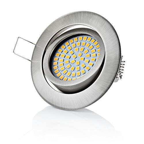 sweet-led Set 6 x flache Einbaustrahler LED dimmbar, 230V, 5W, Schwenkbar, Rund, Chrom, Warmweiß