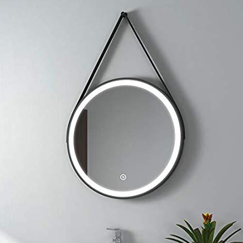 EMKE LED Badezimmerspiegel runder 60 cm Badezimmerspiegel, beleuchteter Spiegel, 3 Farben, warmweißes Licht / kaltweißes Licht / Mischlicht, mit Berührungsschalter