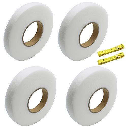 UBERMing 4 Rollos Cinta de Dobladillo Adhesivo Cinta Termoadhesiva Ropa 70 Yards Cinta de Fijación para Coser Tejidos con 2 Cintas de Medir para Ropa Textiliens
