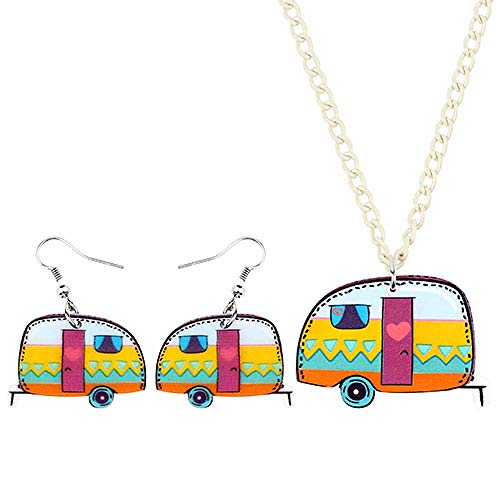 YGDH Sistemas de la joyería de acrílico Van Estación Camper Coche Carro Pendientes del Collar del ahogador de la Manera del Colgante for Las Mujeres Chica Adolescente Decoración (Color : A)