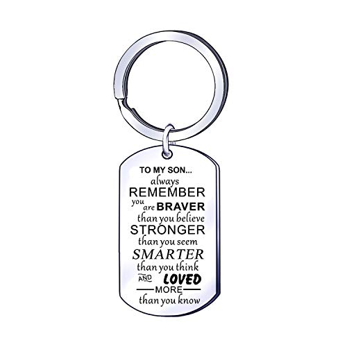 Son Keyring Keychin Inspirational Key Rings Gift for Son Birthday Present Boys Children Kids Jewellery Birthday Graduation Gift for Son