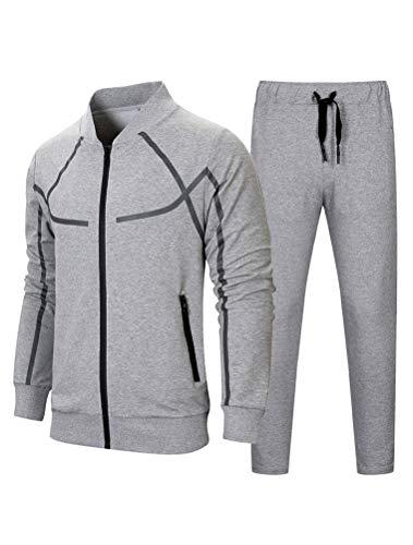 FTCayanz Herren Trainingsanzug Jogginganzug Sportanzug Männer Jogging Anzug Sweatshirt Hose 1-Grau L