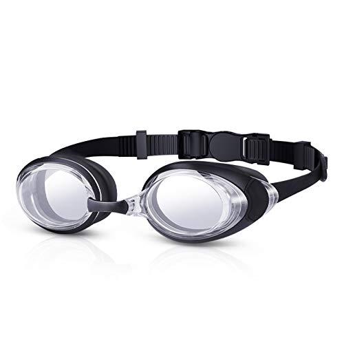 Gafas de natación DaHeng, antivaho impermeables, con caja protectora y tapones para los oídos, correa ajustable, ajuste cómodo, unisex, para adultos y hombres, Transparente negro