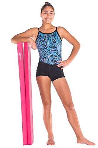 Juperbsky Balance Beam for Kid's - Folding and Easy to Store, Non Slip - Gymnastics Equipment for Teens Hone Skills at Home (PVC Pink 8' Long 2''Hing)