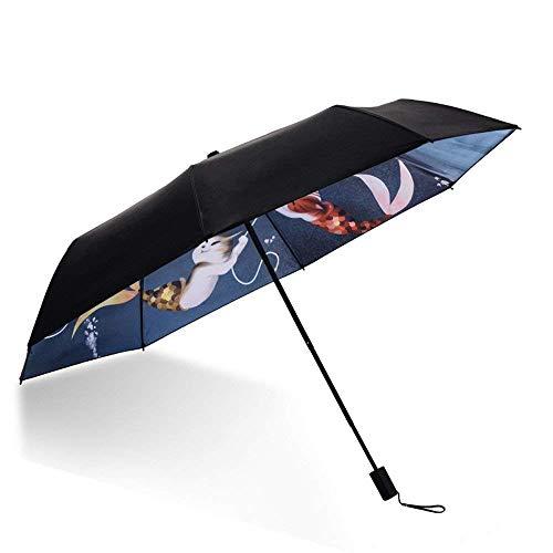 YNHNI Paraguas, paraguas de plástico, paraguas de ilustración, paraguas de sol, protección UV, paraguas de alto grado, paraguas de regalo, portátil (color: B)