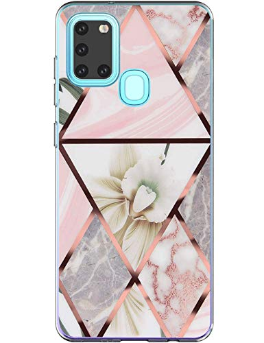 "Kompatibel mit Samsung Galaxy A21s Hülle Silikon Motiv 360 Case Transparent TPU Flexible Silikon Tasche Galaxy A21s Marmor Handyhülle Blume Schutzhülle Cover für Samsung A21s Handy 6.5\""Mädchen"