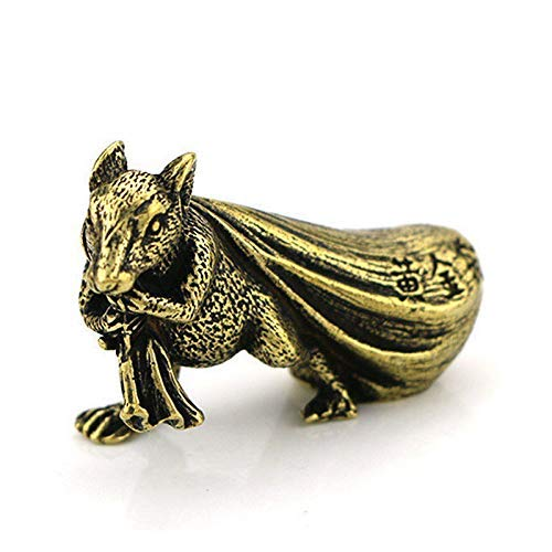 ZWWZ Kupferrat Figur Dekoration Zubehör Wohnzimmer Messing Tier Maus Geld Tasche Papier Gewicht Feng Shui Schreibtisch Ornamente MISU