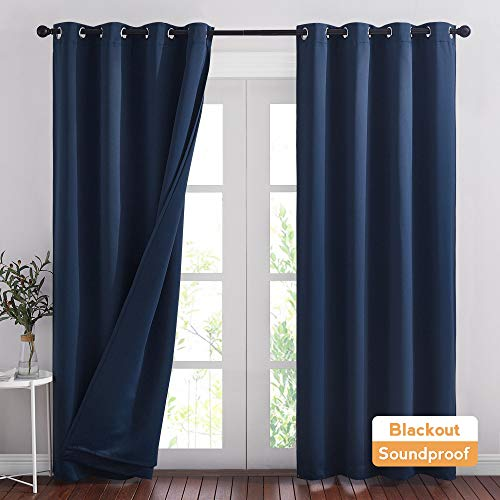 RYB HOME Acoustic Curtains Blackout Thermal Insulating 3-in-1 Curtain Set Privacy Shades for Home Theater Office Bedroom Living Room Wall Divider, W 52 x L 84 inches, Navy Blue, 1 Pair