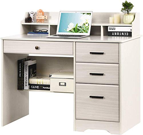 Computer Desk with Drawers and Hutch, Farmhouse Home Office Desk Writing Table Wood Executive Desk Student Desk with File Drawer for Small Space, Bedroom, White