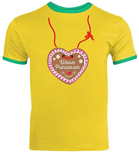 ShirtStreet Gaudi Wiesn Oktoberfest Herren Männer Ringer Trikot T-Shirt Oktoberfest - Wiesn Prinzessin, Größe: S,Sunflower/Kelly Green