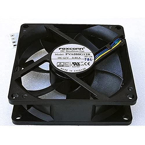 Zyvpee 8025 PVA080G12R - Ventilador de refrigeración (12 V, 0,8 A, 4 cables, 8 cm, 80 x 80 x 25 mm)