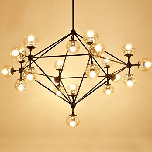 LYEJFF Moderne kreative molekulare Leuchter-Beleuchtung, nordische Schwarze Eisen-Glaskugel-mehrarmige Deckenleuchte-Lampen für Wohnzimmer-Esszimmer-Schlafzimmer-Studie-21arms