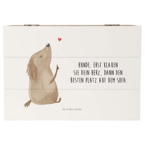 Mr. & Mrs. Panda Schatzkiste, Kiste, 22x15cm Holzkiste Hund Liebe mit Spruch - Farbe Weiß