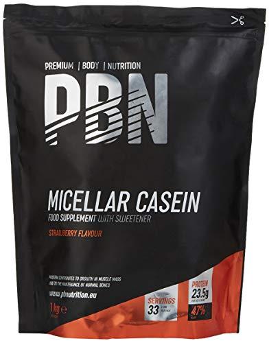 PBN - Premium Body Nutrition Integratore di Caseina Micellare, 1 Kg (Pacco da 1), Gusto Fragola