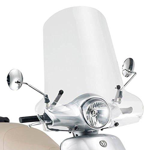 Kappa (293A) - Parebrise spécifique, Transparent, 50 x 63 cm (H x L), Fixations Non incluses, pour Scooter Sym Fiddle II 50 ou 125 cm3