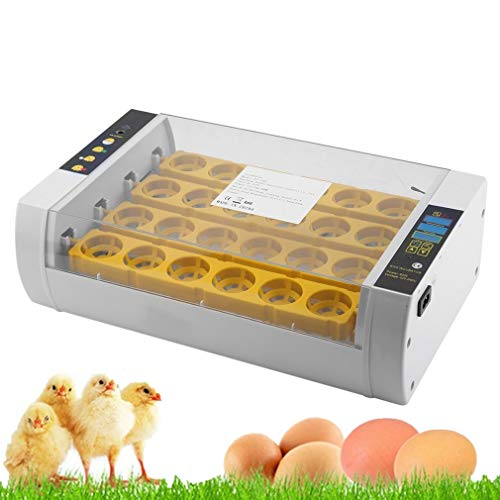 Incubadora automática Incubadora de 24 huevos automático inteligente digital, dispositivo de incubación, eclosión de pollito, pantalla LED, 60 W, temperatura ajustable