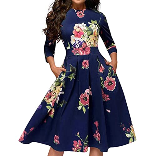 Women's Floral Vintage Dress Elegant Midi Evening Dresses 3/4 Sleeves Pleated Party Cocktail Swing Dress Blue