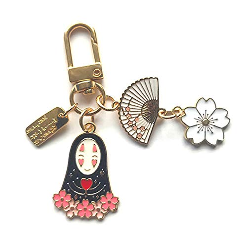 tealn Anime Spirited Away No Face Key Chain Ghibli No Face Spirited Away Keyrings Car Bag Pendent Charm(One Size fans)