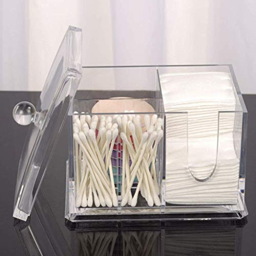 Cosmetische Organizer, Desktop Storage Organizer Plein Transparant Cleansing Katoen Katoen Pad Storage Box for cosmetische kaptafel-Small Mooie en praktische cosmetische opbergdoos. (Color : Big)