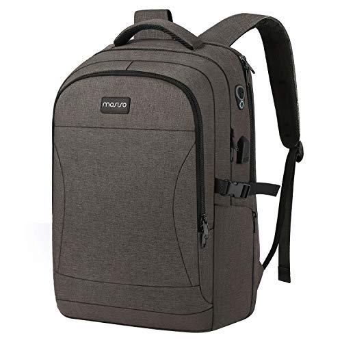 MOSISO Travel Laptop Rugzak voor 15.6-17.3 inch Computer, Waterafstotend Anti Diefstal 3 Vakken Dagtas met USB Opladen Port&Trolley Riem, Business College School Bookbag voor Vrouwen Mannen, Grijs