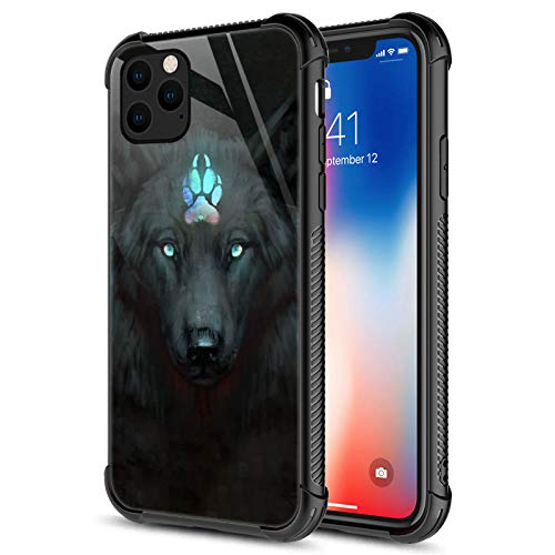 Compatible with iPhone 12 Pro Max Case,Spiritual Wolf Black iPhone 12 Pro Max Cases for Girls,Fashion Graphic Design Shockproof Anti-Scratch Case for Apple iPhone 12 Pro Max