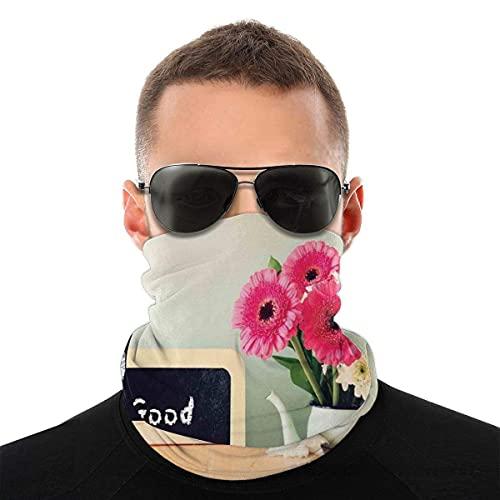 asdew987 Cubierta de la cara,Polaina para el cuello,Pizarra con la frase Good Morning escrita en él junto a florero con flores frescas,Pasamontaña,Bufanda