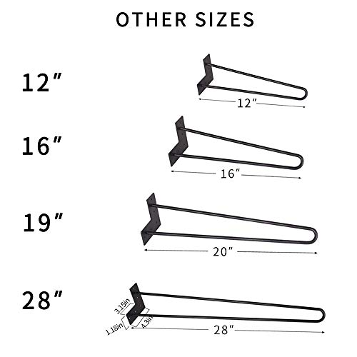 """Signstek 16"""" Hairpin Furniture Legs with Heavy Duty Metal and Floor Protectors for DIY Coffee Tables, Modern Desks and Night Stands,Black,Set of 4,"""