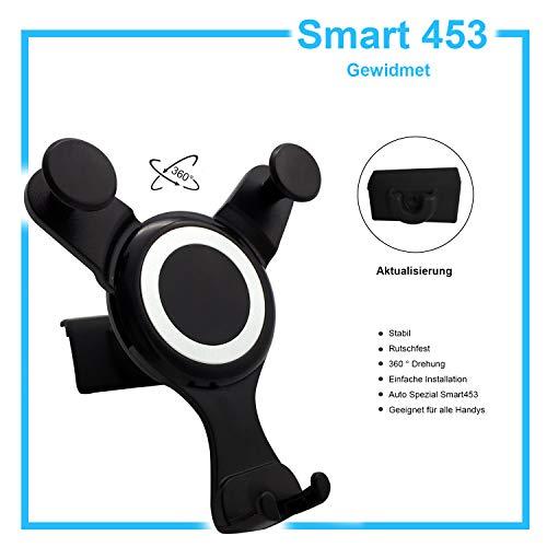 OYEFLY Smart 453 handyhalterung, Halterung der zweiten Generation für Smart ForTwo/ForFour Autohalterung mit Schwerkrafteffekt (Schwarz) (Navigationsversion)