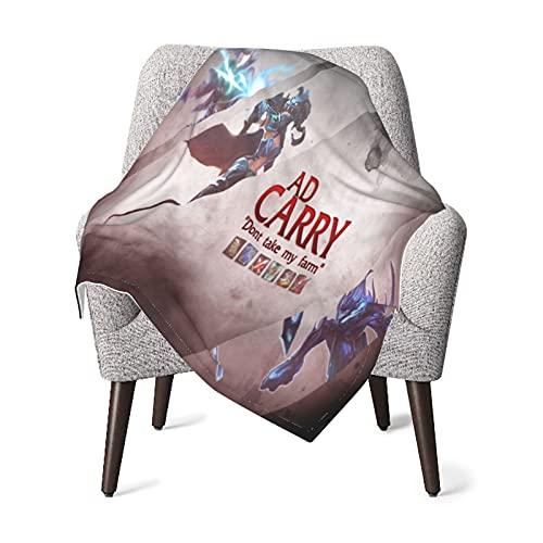 League of Legends Ad Carry Masha Kuscheldecke XXL 200 X 220 cm Grau Polar Fleece Tagesdecke Fellimitat Wendedecke Sofadecke Tv-Decke