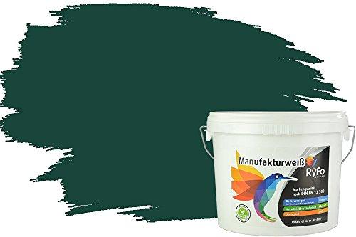 RyFo Colors Bunte Wandfarbe Manufakturweiß Dschungelgrün 6l - weitere Grün Farbtöne und Größen erhältlich, Deckkraft Klasse 1, Nassabrieb Klasse 1