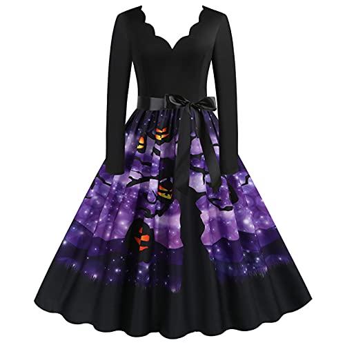 XUEbing Vestidos de Navidad de Halloween 2021Disfraces para las mujeres Vintage de manga larga de los años 50 Ama de casa de noche vestido de fiesta de graduación, J, XXXL