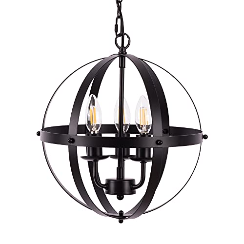 Vintage Pendant Hanging Light, Farmhouse Rustic Pendant Light 3 Light Adjustable Hanging Industrial Pendant Light Fixtures for Dining Room, Kitchen, Living Room, E12 Base Black