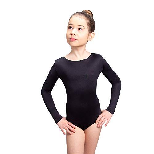 Siegertreppchen® Maillot de Gimnasia para niñas Talla 128 Traje de Gimnasia de Manga Larga Anni para Gimnasia, Fitness y Baile en Negro