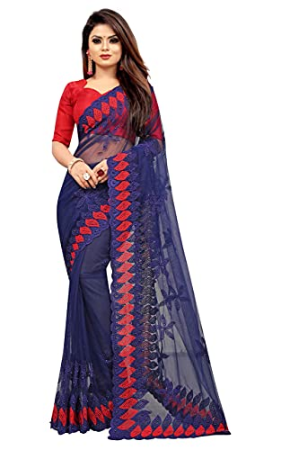 YARA CREATION Women's Net Embroidered Work Saree with Blouse Piece (Blue)