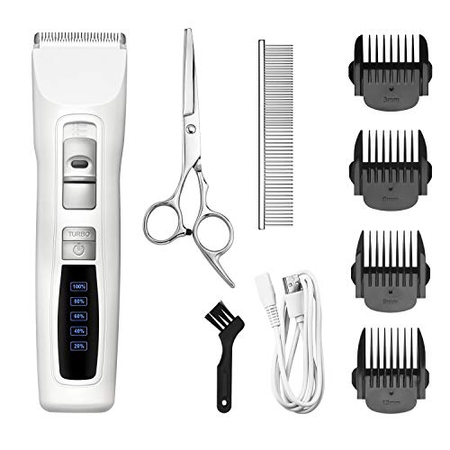 Bousnic Dog Clippers 2-Speed Cordless Pet Hair Grooming Clippers Kit -...