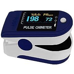 Pulox Pulse Oximeter PO-200 Solo in donkerblauw voor het meten van de puls en zuurstofverzadiging op de vingerincl. batterijen*