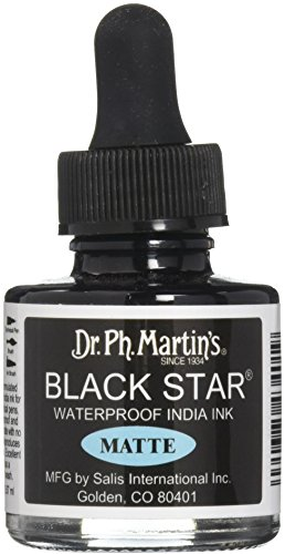 Dr. Ph. Martin's Black Star India Ink, 1.0 oz, Black (Matte)