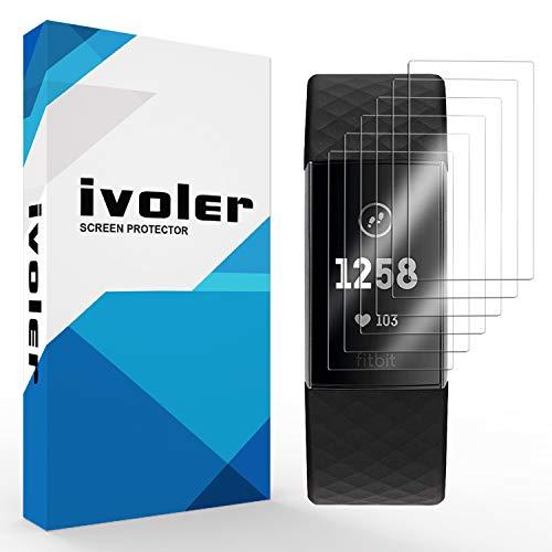 iVoler [6 Pack] Pellicola Protettiva per Fitbit Charge 4 / Fitbit Charge 4 SE (Special Edition) / Fitbit Charge 3, Wet Applied Protezione Schermo [Bubble-Free-Riutilizzabile] HD Clear Film in TPU