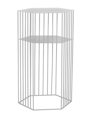 Geometrische bijzettafel/smeedijzeren koffietafel/dubbele hoge tafel, eenvoudige moderne bank creatieve kleine appartement woonkamer, wit (38×38×65cm)