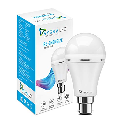Syska Inverter SSK-EMB-09-01-B22 9-Watt Rechargeable Emergency Bulb (White)