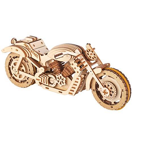 Houten model Rubber band motorfiets DIY hand geassembleerd driedimensionaal houten puzzelmodel, 187 onderdelen.