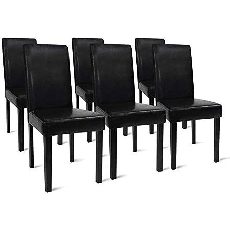 IDMarket - Lot de 6 chaises Hannah Noires pour Salle à Manger