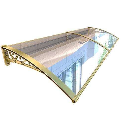 Auvent Marquise Porte D'Entree QIANDA Fumeur Zone Abri De Pluie Extérieur Store Fenêtre Couverture Soleil Protecteur (Canopy + Extension) (Color : Champagne Bracket, Size : 60cmx120cm)