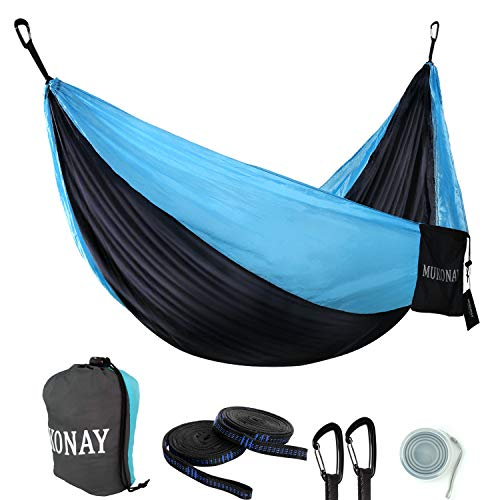 Mukonay Camping Hammock Portable Lightweight, Sky Walker Series Backpacking Upgraded Skin Soft Nylon Aircraft Carabiners Adjustable Tree Straps