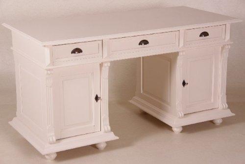 Casa Padrino Schreibtisch Kiefer Massiv England Creme - Englischer Schreibtisch - Antik Stil -...