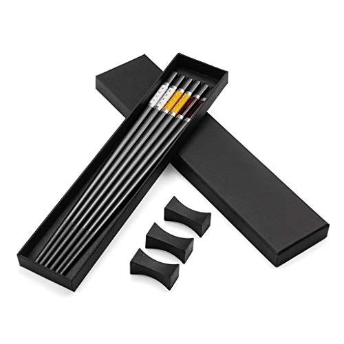 3 paia di bacchette giapponesi di alta qualità in lega di alluminio nero + 3 bacchette per chopstick, bacchette in acciaio inox con supporto, set regalo di bacchette cinesi