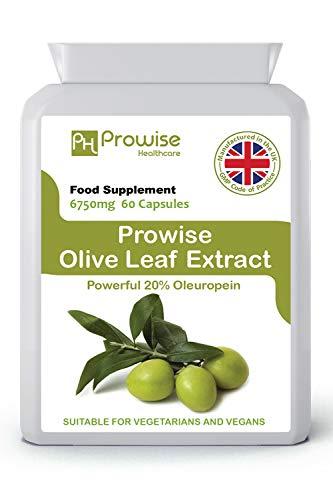 Extracto de hoja de olivo 6750 mg - 60 cápsulas | Fabricado en el Reino Unido | Estándares GMP de Prowise Healthcare