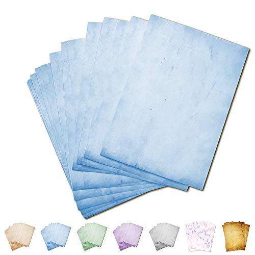 Partycards 50 Blatt Briefpapier doppelseitig bedruckt, geeignet für alle Drucker (Blau, Format DIN A4 (21 cm x 29,7 cm), Grammatur 90 g/m²)